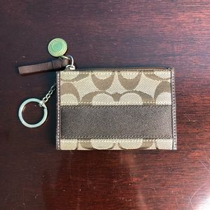 Authentic Coach Card Case with Key Ring